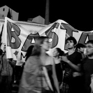 Protesters outside Portugal's parliament. (8)
