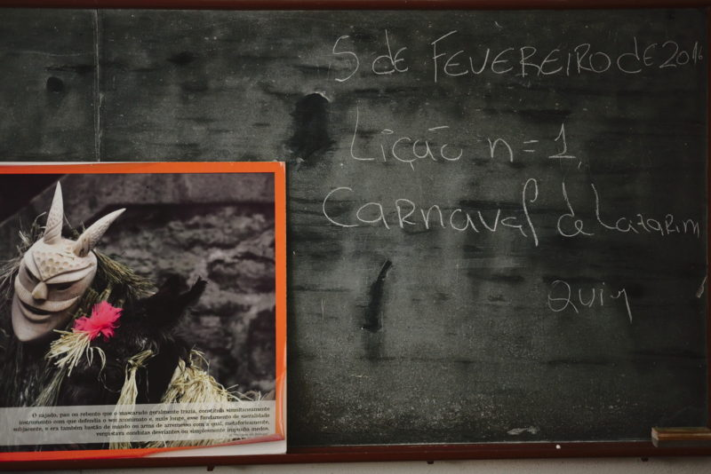 The blackboard of elementary school, with the written summary from the last school day before Carnival (February 5th)